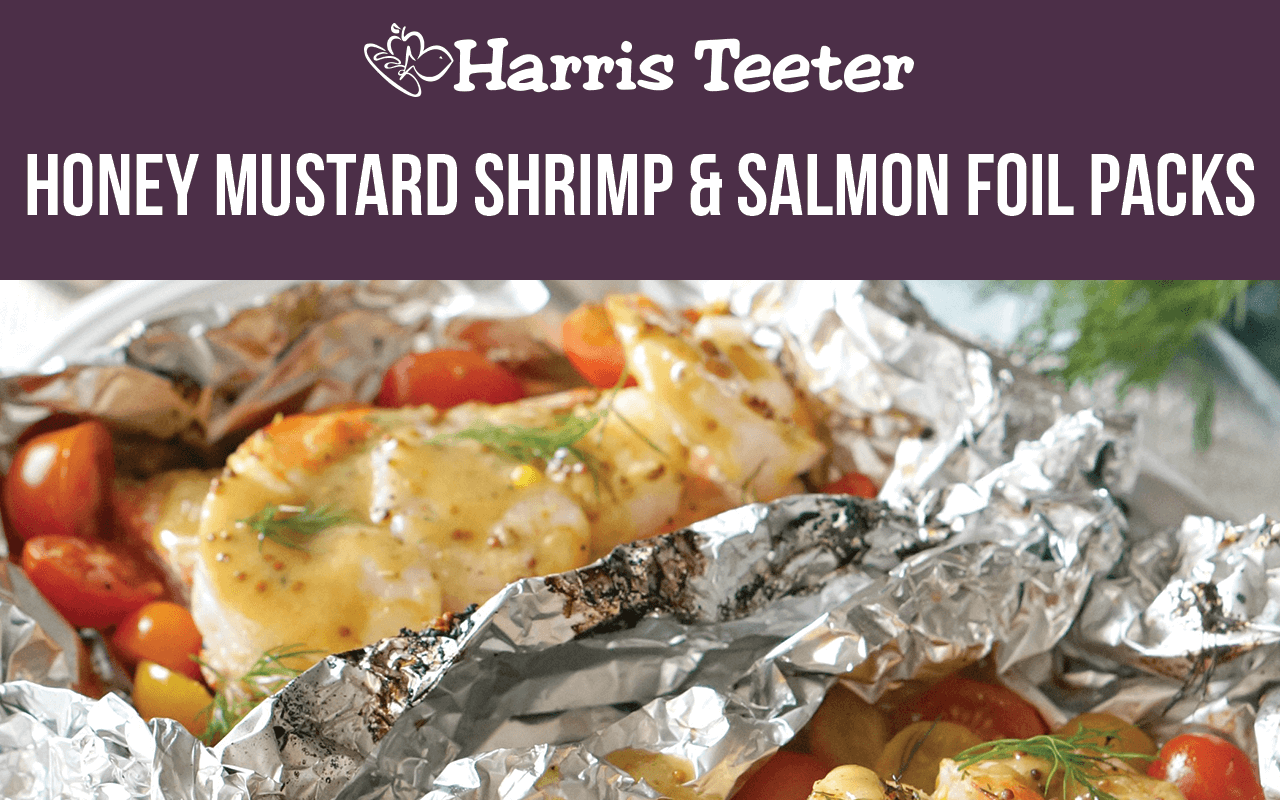 Honey Mustard Shrimp and Salmon Foil Packs