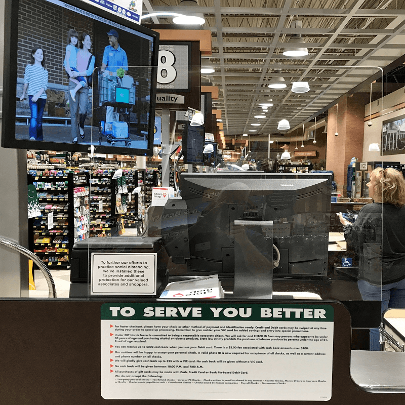 Protective Shield at customer Service and Pharmacy counters