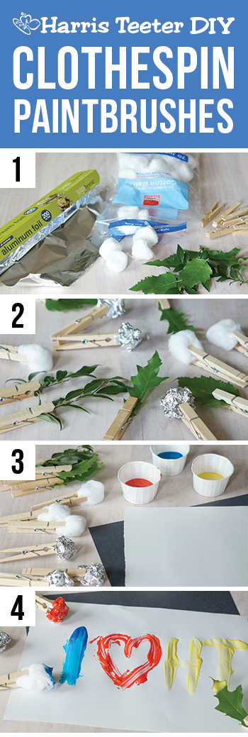 DIY clothespin paintbrushes